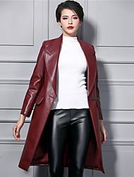 Feminino Casaco Longo Para Noite Moda de Rua Inverno, Sólido Vermelho Poliuretano Decote V-Manga Longa Grossa