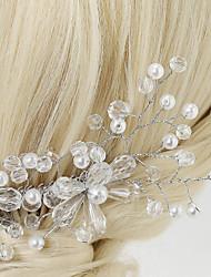 Kristallen Licht Metaal Imitatie Parel Helm-Bruiloft Speciale gelegenheden Haarkammen