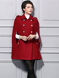 Feminino Casaco Longo Casual Moda de Rua Inverno, Sólido Vermelho Fibra Sintética Gola Peter Pan-Manga Longa Grossa