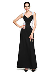 2017 TS Couture® Formal Evening Dress - Color Block Sheath / Column Queen Anne Floor-length Stretch Satin with Beading