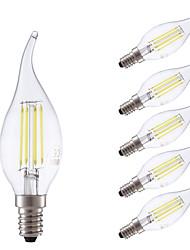 3,5 E14 LED žárovky s vláknem B 4 COB 400/350 lm Teplá bílá Chladná bílá Stmívací AC 220-240 V 6 ks