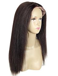 흑인 여성 변태 스트레이트 레이스 프런트 가발을위한 16 인치 변태 스트레이트 레이스 가발 버진 헤어 글루리스 (13) * 6 레이스 앞에 인간의 머리 가발