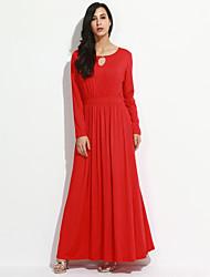 Feminino Bainha Vestido,Tamanhos Grandes / Casual Simples / Moda de Rua Sólido Decote Redondo Longo Manga LongaAzul / Vermelho / Bege /