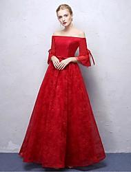 공식적인 이브닝 드레스 a-line 오프 - 더 - 어깨 발목 길이 레이스 나비 (sash / ribbon)