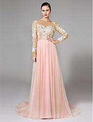 LAN TING BRIDE A-라인 웨딩 드레스 오픈백 색상 웨딩 드레스 스윕 / 브러쉬 트레인 보트넥 레이스 튤 와 레이스 허리끈 / 리본