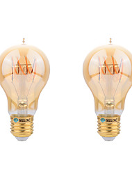 BRELONG E27 4W A60 intage Flexible/BENT Spiral Lamp LED Curved Filament Bulb - Amber Tinted Glass Light Bulb 2pcs