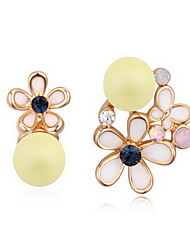 Drop Earrings Crystal Pearl Alloy Natural Flower Black Yellow Fuchsia Light Blue Light Green Jewelry Daily 1 pair