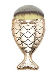 1 מברשת מייקאפ שיער סינטטי סינטטי נייד פלסטיק פנים אחרים