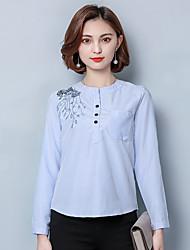 underteckna broderad randig skjorta 2017 våren nya koreanska version av stora kvinnor mode vilda bottna skjorta