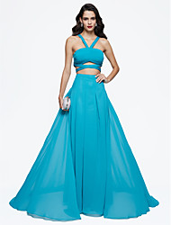 TS Couture Formal Evening Dress - Elegant A-line Straps Sweep / Brush Train Chiffon with Beading Pleats