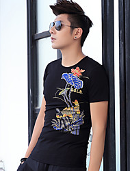 2017 spring and summer men's round neck short sleeve T-shirt Chinese wind printing carp tattoo domineering cotton
