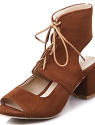 Feminino-Sandálias-Inovador Sapatos clube-Salto Grosso Salto de bloco-Preto Cinzento Amarelo Vermelho-Flanelado-Social Casual