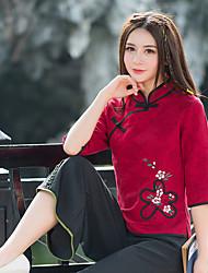 underteckna nya kvinnor&# 39; s nationella vind krage jacquard bomull Xie jin T-shirts toppar
