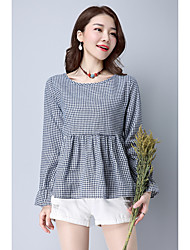 underteckna 2017 våren nya koreanska lös stora kvinnor&# 39; s bomull långärmad rutig skjorta wawa shan