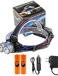 Lanternas de Cabeça LED 4000 Lumens 3 Modo Cree XM-L T6 18650.0 Tamanho Compacto Emergência fonte de alimentação móvelCampismo / Escursão