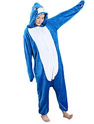 Kigurumi פיג'מות Shark /סרבל תינוקותבגד גוף פסטיבל/חג הלבשת בעלי חיים Halloween כחול פלנל תחפושות קוספליי ל יוניסקס נקבההאלווין (ליל כל