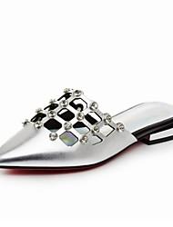 sandálias de verão outra de prata ocasional preto couro