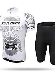 XINTOWN Camisa com Shorts para Ciclismo Homens Manga Curta Moto Camisa/Roupas Para Esporte ShortsSecagem Rápida Zíper Frontal Respirável