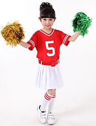 Kostýmy pro roztleskávačky Úbory Děti Pro dívky Výkon Bavlna Barevně dělené 3 kusy Krátké rukávy Přírodní Pásek Sukně horní a dolní část)