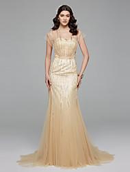LAN TING BRIDE 트럼펫 / 머메이드 웨딩 드레스 어깨 노출 스타일 색상 웨딩 드레스 스윕 / 브러쉬 트레인 V-넥 튤 와 비즈