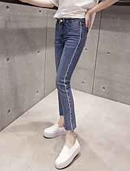 Sign 2017 new Korean Slim thin waist jeans female trousers pantyhose flash