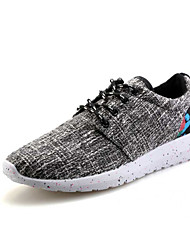 גברים-נעלי ספורט-פשתן-נוחות סוליות מוארות-שחור כחול לבן ציאן-שטח יומיומי ספורט-עקב שטוח
