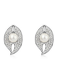 Stud Earrings Pearl Pearl Alloy Natural Fashion Leaf Jewelry White Black Dark Blue Gray Copper Jewelry Daily 1 pair