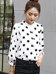 underteckna 2017 våren nya koreanska vågen pekar skjorta kvinnliga mode lös snö vilda stand-up krage skjorta