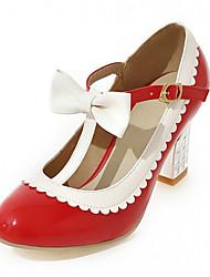 Heels Spring Fall Comfort Leatherette Office & Career Dress Casual Chunky Heel Bowknot Buckle Black Pink Red Beige