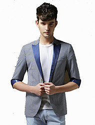 Men's Casual/Daily Work Club Vintage Simple Street chic Spring Summer Blazer,Striped Square Neck ¾ Sleeve Regular Polyester