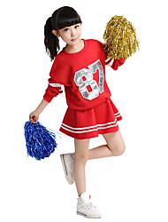 Kostýmy pro roztleskávačky Úbory Děti Pro dívky Výkon Bavlna Barevně dělené 2 kusy Dlouhé rukávy Přírodní Sukně horní a dolní část)