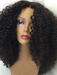 새로운 변태 곱슬 레이스 프런트 인간의 머리카락은 여성을위한 100 % 브라질 처녀 머리 가발 자연 색상의 레이스 프런트 가발 가발