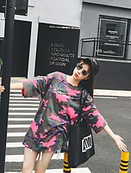 Koreaanse wilde bf wind grote werven lange sectie ronde hals korte mouwen camouflage t-shirt vrouwen