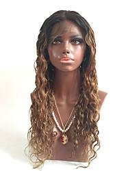 흑인 여성을위한 고밀도 꿀 금발의 T1b의은 / 27분의 4 습식 및 물결 모양의 옹 브르 전체 레이스 가발 브라질 처녀 저렴한 인간의 머리카락 전체 레이스 휴 매나 가발