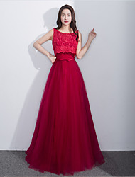 Formal Evening Dress A-line Scoop Floor-length Lace Tulle with Lace Sash / Ribbon