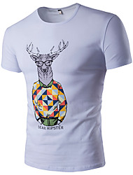 Men's Plus Size Casual/Daily Sports Simple Active Summer T-shirt,Print Round Neck Short Sleeve Cotton Rayon Thin