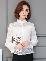 skylt spets tröja kvinnliga koreanska smal krage skjorta ihåliga kortärmad 2017 nya vårflod