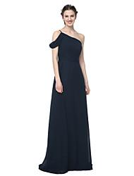 LAN TING BRIDE עד הריצפה כתפיה אחת שמלה לשושבינה - אלגנטי ללא שרוולים שיפון