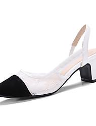 נשים-סנדלים-פליז טול-רצועה אחורית-לבן שחור-משרד ועבודה שמלה מסיבה וערב-עקב עבה חסום את העקב