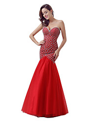 Formal Evening Dress Trumpet / Mermaid Sweetheart Floor-length Tulle with Beading