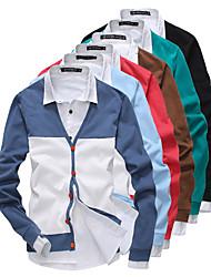 Masculino Padrão Carregam,Casual Simples Estampa Colorida Colarinho de Camisa Manga Longa Algodão Verão Outono Média Sem Elasticidade