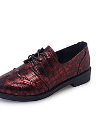 Oxfordské-PU-Bullock boty-Dámské-Černá Stříbrná Burgundská fialová-Kancelář Běžné Party-Nízký podpatek