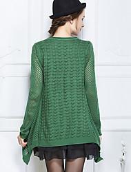 בינוני (מדיום) אביב סתיו כותנה שרוול ארוך צווארון עגול אחיד פשוטה ליציאה יום יומי\קז'ואל סוודר רגיל נשים מיקרו-אלסטי