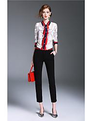 Dames Eenvoudig Schattig Street chic Lente Herfst Overhemd,Uitgaan Nette schoenen Werk Print Opstaand Lange mouw Polyester Medium