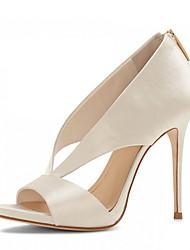 Da donna-Tacchi-Matrimonio Formale Serata e festa-Club Shoes-A stiletto-Raso-Nero Beige
