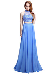 Formal Evening Dress Sheath / Column Halter Sweep / Brush Train Chiffon with Beading