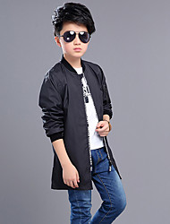 Boys' Casual/Daily Sports Holiday Solid Trench Coat,Cotton Polyester All Seasons Long Sleeve