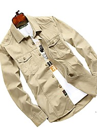 לגברים חולצה צמרות נושם ייבוש מהיר אביב פשתני חאקי בהיר