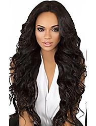 10-26 pulgadas pelo negro virginal humano del pelo de la onda del cuerpo de la peluca delantera del cordón del pelo con pelo del bebé