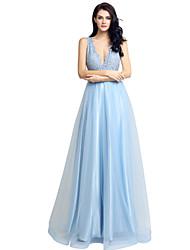 공식적인 이브닝 드레스 볼 가운 v-neck 바닥 길이의 쉬폰과 구슬 장식